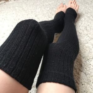 Long Black Knit Over the Knee Leg Warmers